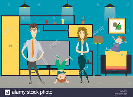 home interior vector family and in home interior