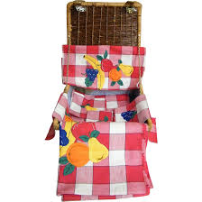 Picnic Basket Set Wicker Picnic Basket Set Red Checked Cotton Tablecloth Runner 4