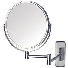 jerdon 8 in dia wall mounted mirror in nickel jp7506n the home