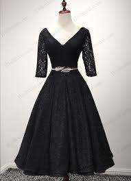 pd16048 vintage style black lace tea length prom dress for sale