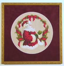 santa claus cross stitch carter avenue frame shop custom picture