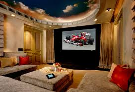 u shaped couch home theater traditional with beams big screen