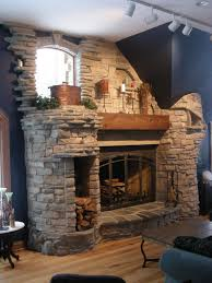 stacked stone tile fireplace surround modern and luxury fireplace