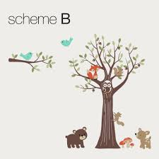 tree with forest friends wall decal woodland theme nursery wall decal tree with animals wall