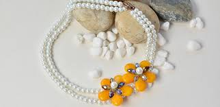flower bead necklace images Beader garden elegant two strand flower pearl beads necklace jpg