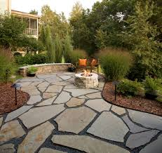 Patio Flagstone Designs Flagstone Patio And Pit Traditional Patio