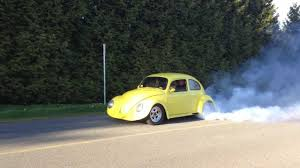 old volkswagen yellow 1960 ls1 v8 powered vw beetle burn out youtube