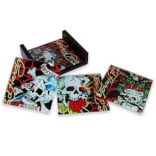 Ed Hardy Bed Set Ed Hardy Skull Glass Coasters Set Of 4 Bed Bath Beyond