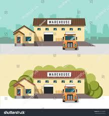 home warehouse design center vector banner image warehouse logistics center stock vector