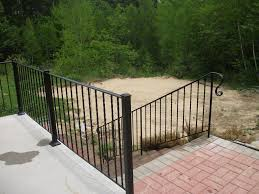 outdoor stair decoration using black outdoor iron hand railing