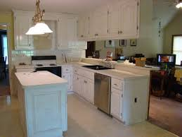 stunning white color knotty pine kitchen cabis featuring painting