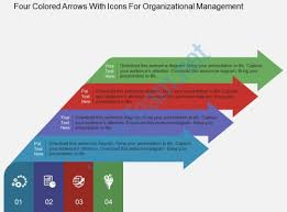 four colored arrows with icons for organizational management flat