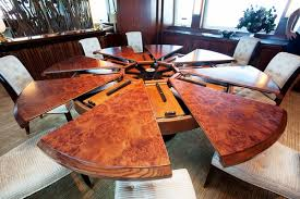 expanding round dining table iron wood