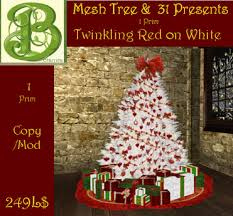 second life marketplace red ornaments on white christmas tree