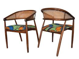 Dining Chair Set Of 4 African Print Mid Century Caned Dining Chairs Set Of 4 U2014 Enitan
