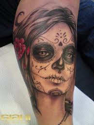 black santa muerte with a red rose in hair tattoo tattoos book