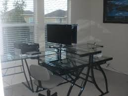 Computer Desk In Walmart Florence L Shaped Glass Desk Black And Clear Walmart Com