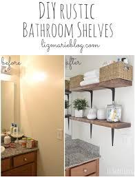 Wood Bathroom Shelves by Diy Rustic Wood U0026 Metal Bathroom Shelves Liz Marie Blog