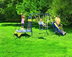 Backyard Set Sportspower Jump U0027n Swing Metal Backyard Swing Set