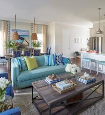 Living Rooms With Blue Couches by Blue Sofa With Green And Blue Pillows Cottage Living Room