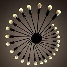 Spiral Pendant Ceiling Light 26 Heads Edison Black Big Pendant Ceiling L E27 Led Chandelier