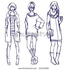 colored sketch young woman fashion model stock vector 224441758