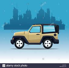 jeep cartoon offroad beige jeep sport city background stock vector art u0026 illustration