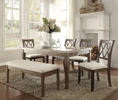 Acme Dining Room Set Acme 71715 Claudia 6pcs Salvage Brown Dining Table Set