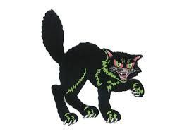 halloween black cat iron on patch 50s 60s vintage decoration