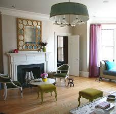 frank roop modern colorful living room large mirror velvet