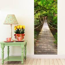 28 fabric wall mural wall mural autumn forest peel and fabric wall mural door mural forest bridge self adhesive fabric door wrap