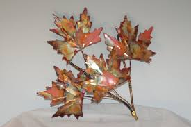 copper maple leaf branch handcrafted metal sculpturehome