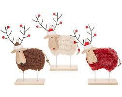 Wooden Christmas Reindeer Decorations by Woolly Reindeer Christmas Decoration Free Standing Knitted Body