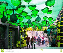 festival decorations gracia festival decorations in barcelona editorial image image