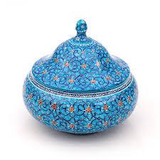 blue enamel sugar bowl with dome lid