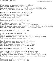 Comfort Me Lyrics Johnny Cash Song Southern Comfort Lyrics