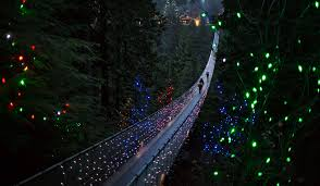 best christmas lights in the world capilano suspension bridge decorated in christmas lights in north