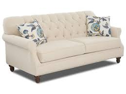 Traditional Tufted Sofa by Klaussner Burbank Traditional Tufted Apartment Size Sofa With