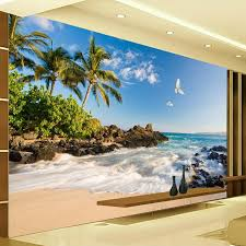 popular sea wall mural buy cheap sea wall mural lots from china custom 3d photo wallpaper hd sea view tv background wall mural wallpaper coconut trees seawater home