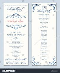Wedding Programs Template Wedding Program Template Vector Illustration Stock Vector