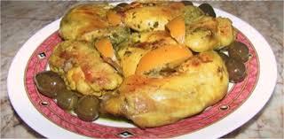 cuisine marocaine poulet farci poulet au citron mhamer rôti aux olives
