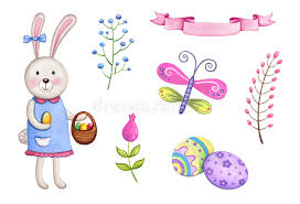 bunny basket eggs easter watercolor elements easter bunny with basket eggs