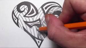 drawing tribal maori shapes inside a heart tattoo design youtube