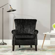 Chair Fabric Olenka Crushed Velvet Wing Back Occasional Bedroom Accent Chair
