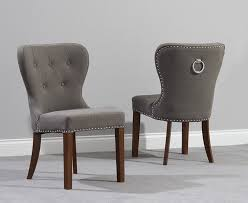 Linen Dining Chair Pair Of Kalim Grey Linen Dining Chairs With Chrome Back Rings Dark