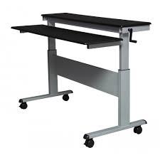 40 black shelves mobile ergonomic stand up desk computer