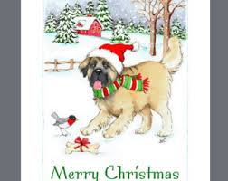 dog christmas cards etsy