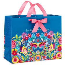 estrada blue floral large gift bag 10 5 gift bags