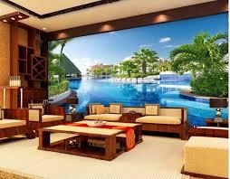 living room mural 3d wallpaper modern for living room murals swimming pool villa