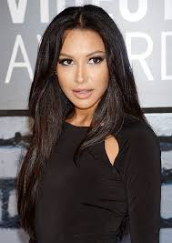 long black hair with part in the middle naya rivera s middle part black layered hairstyle casual party